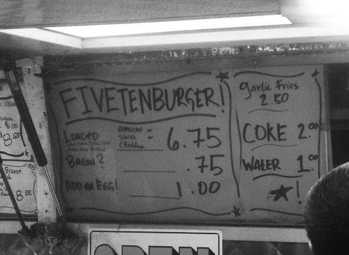 Menu at 510 Burgers